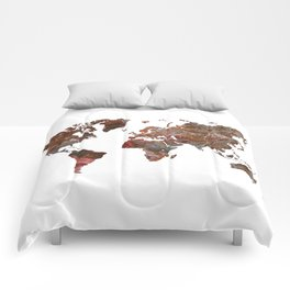 Siena Rosso Marble World Map Comforters