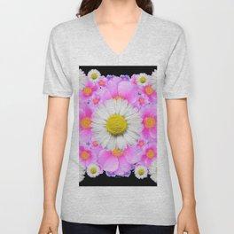 Ebony Black  Color Shasta Daisys & Rose Pattern Garden Art Unisex V-Neck