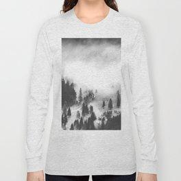 Modern Minimalist Landscape Photo Foggy Mountain Valley Pine Trees Black And White Photo Long Sleeve T-shirt