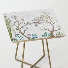 Chinoiserie Panels 1-2 Silver Gray Raw Silk - Casart Scenoiserie Collection Side Table