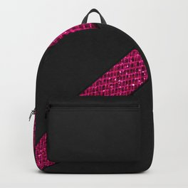 Elegant modern black leather neon pink glitter stripe Backpack