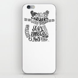 Hand Lettered Cat - Black on White iPhone Skin