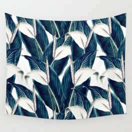 Bluish floral botanical 0I Wall Tapestry