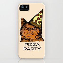 Pizza Party Cat: Funny Animal Kitty iPhone Case