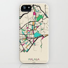Colorful City Maps: Malaga, Spain iPhone Case