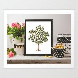 Block Print Tree with Parrots Wall Art Art Print