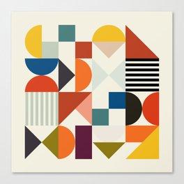 mid century retro shapes geometric Canvas Print