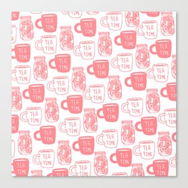 Abstract coral white tea cups modern typography Canvas Print