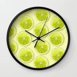 Lime Slices on Light Yellow Wall Clock
