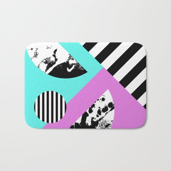 Stripes And Splats 2 - Random, Crazy, Abstract, Geometric, Black And White, Cyan, Pink Artwork Bath Mat