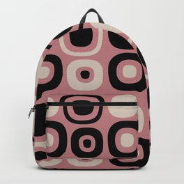 Mid Century Modern Garden Path Pattern 386 Black Dusty Rose and Beige Backpack
