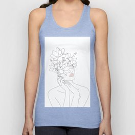 Minimal Line Art Woman with Magnolia Unisex Tank Top
