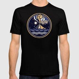 La Vita è Bella – Mediterranean Volcano in Tan Blue Palette T-shirt