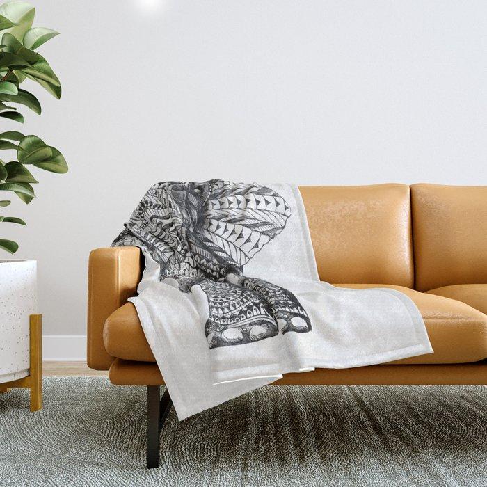 Ornate Elephant Throw Blanket