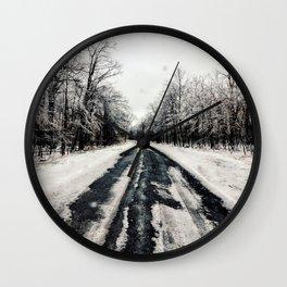 Snowy Roads Wall Clock