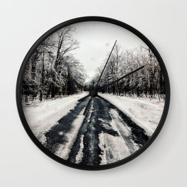Snowy Roads Wall Clock
