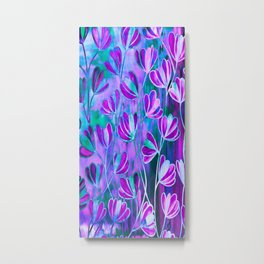 EFFLORESCENCE Lavender Purple Blue Colorful Floral Watercolor Painting Summer Garden Flowers Pattern Metal Print