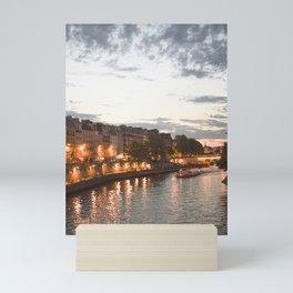The dreamy Seine River by night, sunset water reflection of La Seine riverwalk   Paris travel prints Mini Art Print