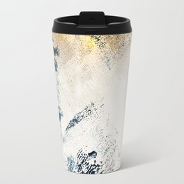 Sunset [1]: a bright, colorful abstract piece in blue, gold, and white Travel Mug