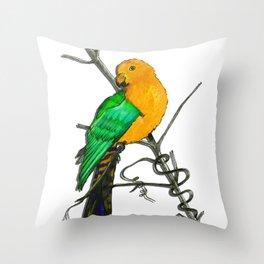 One King Parrot - Yellow Throw Pillow