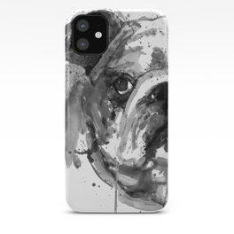 Black And White Half Faced English Bulldog iPhone Case