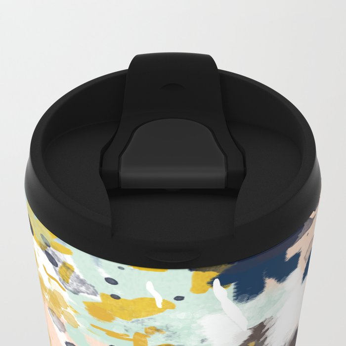 Sloane - Abstract painting in modern fresh colors navy, mint, blush, cream, white, and gold Metal Travel Mug
