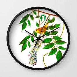 Blue Eyed Yellow Warbler Bird Wall Clock