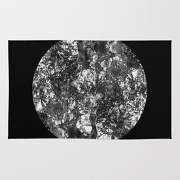Silver Moon - Abstract, textured silver foil lunar design Rug