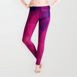 Abstract Polygon Multi Color Cubizm Painting in deep pink/purple  Leggings