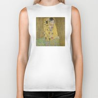 gustav klimt Biker Tanks featuring The Kiss - Gustav Klimt by Elegant Chaos Gallery