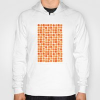 orange pattern Hoodies featuring Orange Squares Pattern. by Elena O'Neill