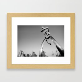 Walking Tall - Dallas Traveling Man and Skyline in Black and White Framed Art Print