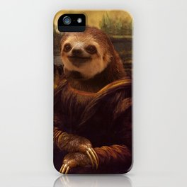 Mona Lisa Sloth - Original Artwork available in Poster. iPhone Case