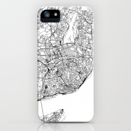 Lisbon White Map iPhone Case