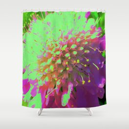 Abstract Pincushion Flower in Lime Green and Purple Shower Curtain
