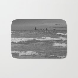 Windy City Skyline bw Bath Mat