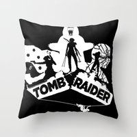 tomb raider Throw Pillows featuring Tomb Raider Reborn by Christophajay