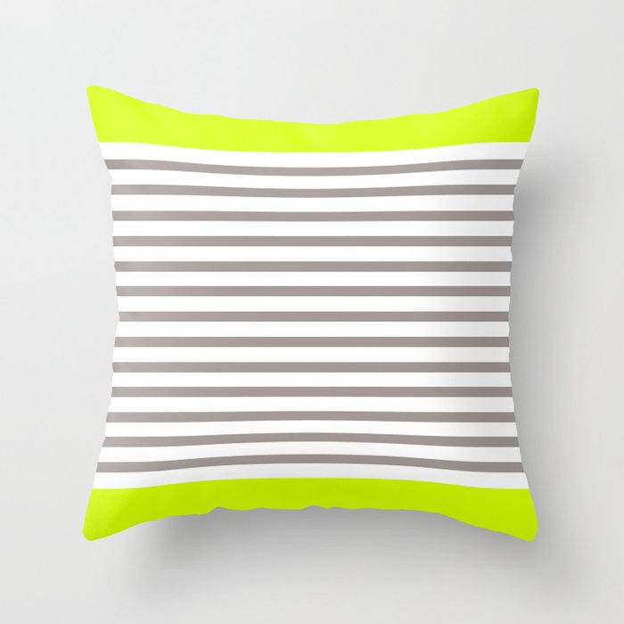 Neon and Grey Stripes Throw Pillow