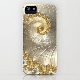 Gold and Pearl Fractal Swirl iPhone Case