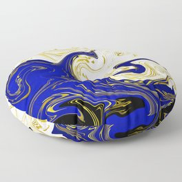 blue ,gold,rose,black,golden fractal, vibrations, circles modern pattern, Floor Pillow