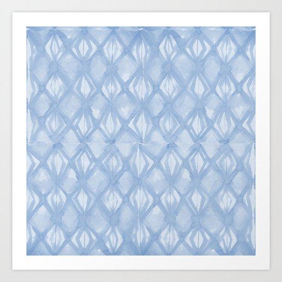 Braided Diamond Sky Blue on Lunar Gray Art Print