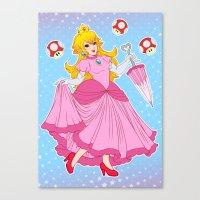 princess peach Canvas Prints featuring PRINCESS PEACH by Laurdione