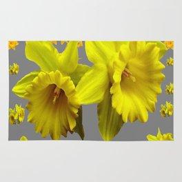 CHARCOAL GREY YELLOW SPRING DAFFODILS Rug