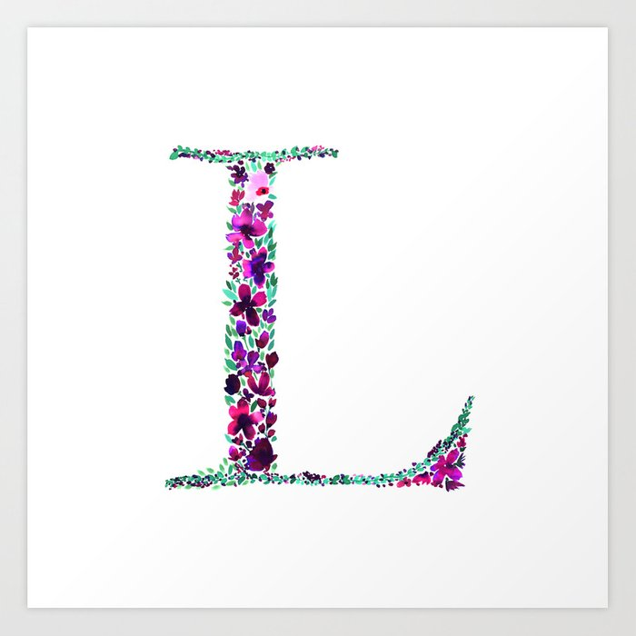 Floral Monogram Letter L Art Print By Amysia Society6