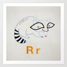 R Raccoon Art Print