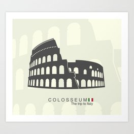 illustration of Roman Colosseum isolated on white background Art Print