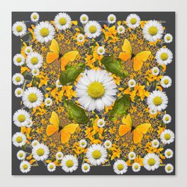 GREEN FROGS & YELLOW  BUTTERFLY WHITE DAISIES Canvas Print