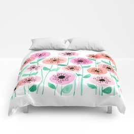 Pink and Peach Floral Watercolor Painting Comforters