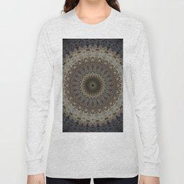 Mandala in warm brown and gray tones Long Sleeve T-shirt