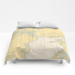 Vintage Map of Gloucester MA (1949) Comforters